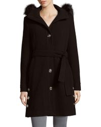 Ivanka Trump - Faux Fur Belted Coat - Lyst