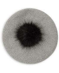 Steve Madden - Faux Fur Pom Pom Beret - Lyst