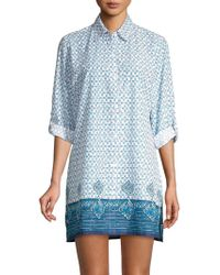 Tommy Bahama Printed Boyfriend Shirt - Blue