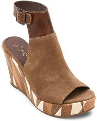 Matisse - Harlequin Geometric Suede Wedge Sandals - Lyst