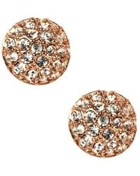 Givenchy - Rose Goldplated And Crystal Button Stud Earrings - Lyst
