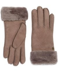 UGG - Classic Suede And Fur Gloves - Lyst