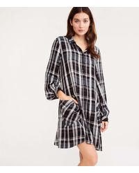 Lou & Grey Plaid Cozy Pocket Shirtdress - Black