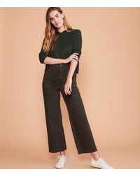Lou & Grey Brushed Twill High Waist Wide Leg Pants - Black