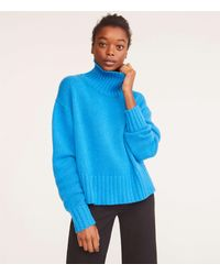 Lou & Grey Cashmere Turtleneck Sweater - Blue