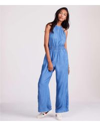 Lou & Grey - Chambray Halter Jumpsuit - Lyst