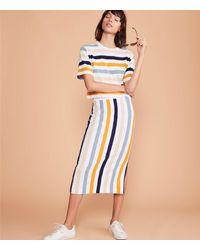 Lou & Grey Striped Cozy Jersey Midi Skirt - Blue