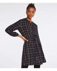 Lou & Grey Plaid Crinkle Drawstring Shirtdress - Black