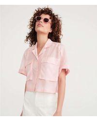 Lou & Grey Cropped Pocket Shirt - Pink