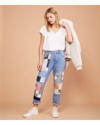 Lou & Grey Patchwork Boyfriend Jeans - Blue