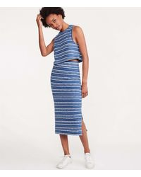 Lou & Grey Crochet Striped Midi Skirt - Blue