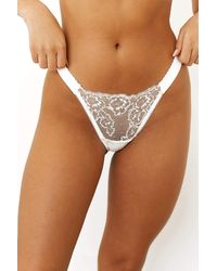 Lounge Underwear Embroidered Triangle Thong - White