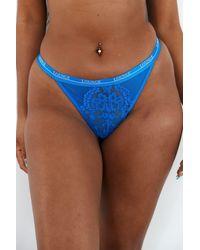 Lounge Underwear Blossom Balcony Thong - Blue