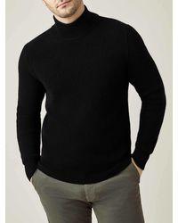 Luca Faloni Black Chunky Knit Cashmere Mock Neck