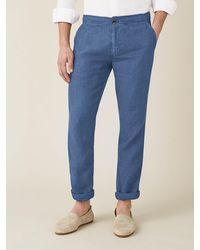 Luca Faloni Capri Blue Lipari Linen Pants