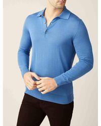 Luca Faloni Capri Blue Fine Silk-cashmere Polo