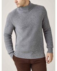 Luca Faloni Dolomiti Gray Chunky Knit Cashmere Mock Neck