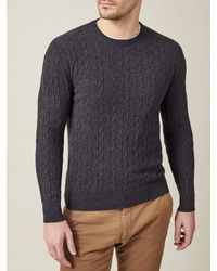Luca Faloni Charcoal Gray Pure Cashmere Cable Knit