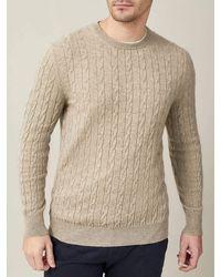 Luca Faloni Camel Beige Pure Cashmere Cable Knit - Natural