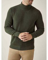 Luca Faloni Hunting Green Chunky Knit Cashmere Mock Neck