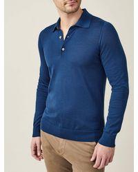 Luca Faloni Atlantic Blue Fine Silk-cashmere Polo