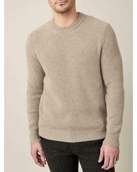 Luca Faloni Camel Beige Chunky Knit Cashmere Crew Neck - Natural