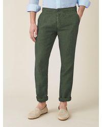 Luca Faloni Khaki Green Lipari Linen Pants