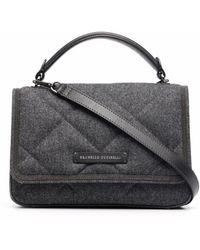 Brunello Cucinelli Quilted Wool Shoulder Bag - Grey