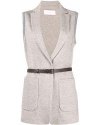 Fabiana Filippi Belted-waist Vest - Gray