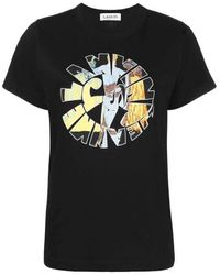 Lanvin T-shirt Jeanne Hippie con stampa - Nero