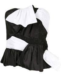 Carolina Herrera Strapless Two-tone Blouse - Black