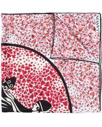 Lanvin Heart-print Silk Scarf - Pink