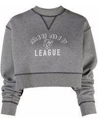 Miu Miu League Logo-print Cropped Sweatshirt - Gray