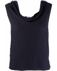 Snobby Sheep Ribbed Cowl-neck Vest Top - Blue