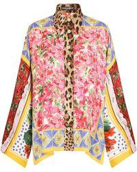 Dolce & Gabbana - Camicia con stampa patchwork - Lyst