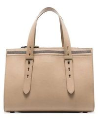 Brunello Cucinelli Grained Leather Tote Bag - Natural