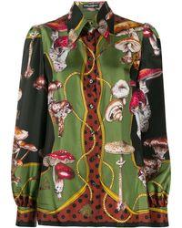 Dolce & Gabbana Mushroom-print Twill Shirt - Green