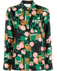 La DoubleJ Abstract-print Silk Shirt - Black