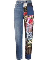 Dolce & Gabbana Patchwork-detail Straight-leg Jeans - Blue