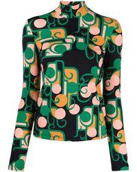 La DoubleJ Geometric-print Rollneck Sweater - Black
