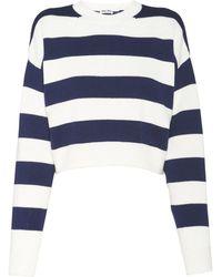 Miu Miu Striped Cropped Sweater - Blue