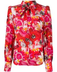 Marc Jacobs Tie Neck Floral Print Silk Blouse - Red