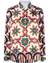 La DoubleJ Floral-print Silk Shirt - Orange
