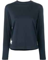 Thom Browne Logo-patch Long-sleeve T-shirt - Blue