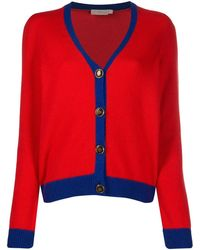 Tory Burch Color-block Cashmere Cardigan - Red