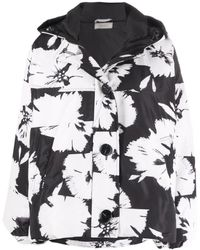 Nina Ricci Floral-print Padded Jacket - Black
