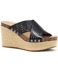 f064d184be5 Charles David Lisbon Studded Espadrille Wedge Mule in Black - Lyst