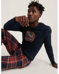 Lucky Brand Ed Red Plaid Jogger Pajama Set - Blue