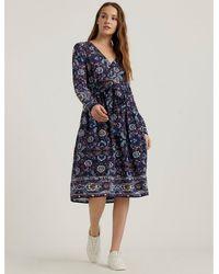 Lucky Brand Florence Border Print Dress - Blue