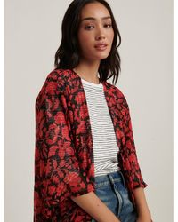Lucky Brand Floral Duster Kimono - Red